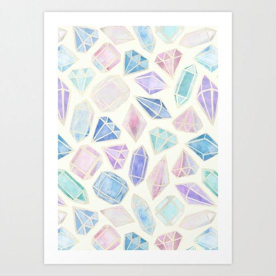 Pastel Watercolor Gems Art Print
