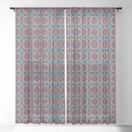 The Burgundy Flower Symmetrical Art // 2021_001 Sheer Curtain