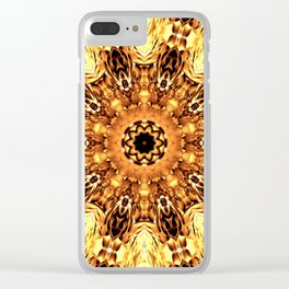 Yellow Brown Mandala Abstract Flower Clear iPhone Case