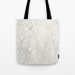Gold Geometries on Marble Tote Bag