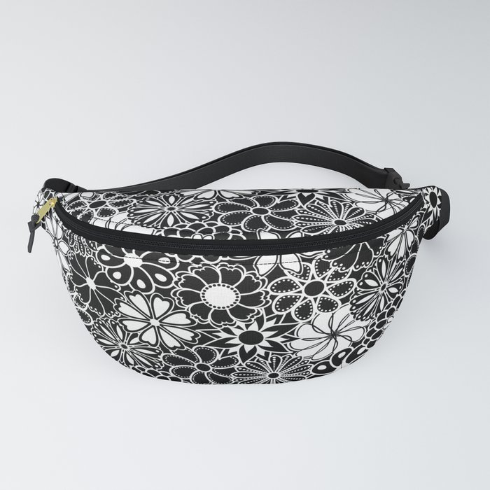 Mid Century Hawaiian Flower Print - Black and White Fanny Pack