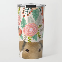Airedale Terrier floral pet portrait cute gifts for dog lover pet friendly dog florals Travel Mug