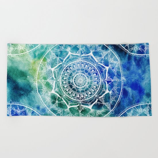 White Circle Mandala on Blue Watercolour Beach Towel