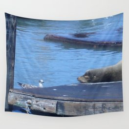Seagull and Sea Lion Wall Tapestry
