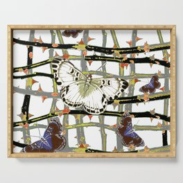 #2 PURPLE-WHITE MOTHS  ON BLACKTHORN LATTICE BRANCHES ART Serving Tray