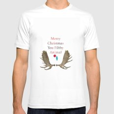 Merry Christmas You Filthy Animal White MEDIUM Mens Fitted Tee