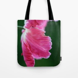 Expressive Pink Tulip Flower on Green Background Tote Bag