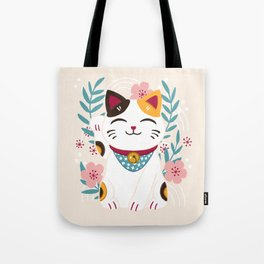 Japanese Lucky Cat with Cherry Blossoms Tote Bag