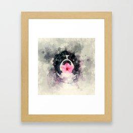 Dog with Flower Framed Art Print