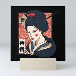 Geisha traditional japanese letters drawing Mini Art Print
