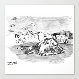 Drawing of Wizard Island in Crater Lake from the Rim Canvas Print