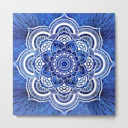 Mandala Blue Colorburst Metal Print