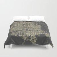 las vegas Duvet Covers featuring Las Vegas Map #1 by Map Map Maps