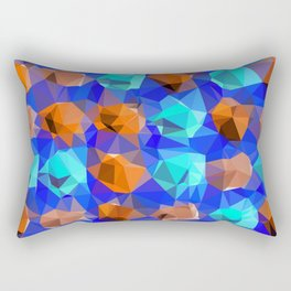 geometric polygon abstract pattern in blue and brown Rectangular Pillow