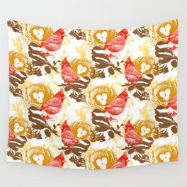 Cardinal Chickadee Pattern Wall Tapestry