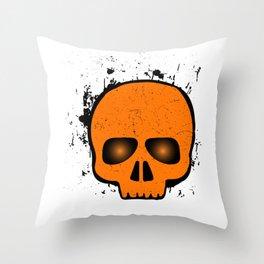 SCARY HALLOWEEN SKULL HEAD Throw Pillow