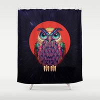 shipping Shower Curtains featuring OWL 2 by Ali GULEC