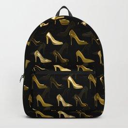 High Heels Golden Shoes pattern Backpack