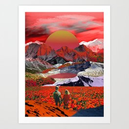 Journey to the red sunset Art Print