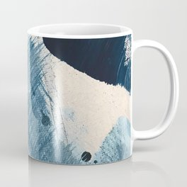 Against the Current [2]: A bold, minimal abstract acrylic piece in blue, white and gold Coffee Mug