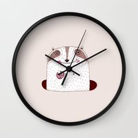 doughnut Wall Clocks featuring Doughnut eater by Neislotova