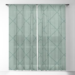 Stitched Diamond Geo Grid in Green Sheer Curtain