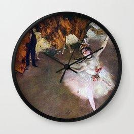 DANCER WITH A BOUQUET OF FLOWERS - EDGAR DEGAS  Wall Clock