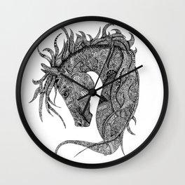Zentangle Horse Artwork Wall Clock