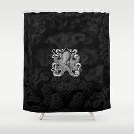 Octopus1 (Black & White, Square) Shower Curtain