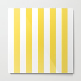 Gargoyle Gas yellow -  solid color - white vertical lines pattern Metal Print