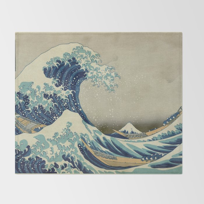 9e274ec377d97 The Classic Japanese Great Wave off Kanagawa Print by Hokusai Throw Blanket