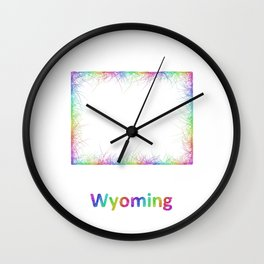 Rainbow Wyoming map Wall Clock