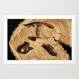 corkscrew with wine corks Art Print