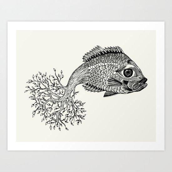 Fish-tree Art Print
