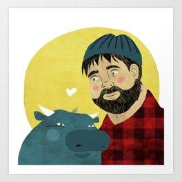 Paul Bunyan and Babe Art Print