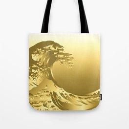 Gold Hokusai Great Wave Tote Bag