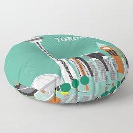 Toronto, Ontario, Canada - Skyline Illustration by Loose Petals Floor Pillow