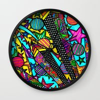 buildings Wall Clocks featuring Buildings  by Marcela Caraballo