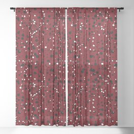 Speckled Red Sheer Curtain