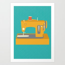 Sewing Machine Yellow Art Print