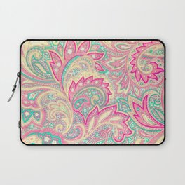 Pink Turquoise Girly Chic Floral Paisley Pattern Laptop Sleeve