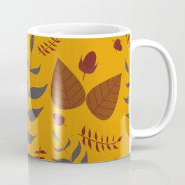 Autumn leaves and acorns - ochre and brown Coffee Mug