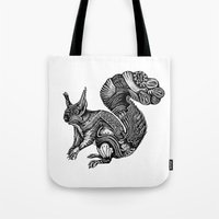 squirrel Tote Bags featuring Squirrel by Rebexi