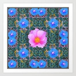 PINK  ROSE & BLUE MORNING GLORIES  BOTANICAL ART Art Print