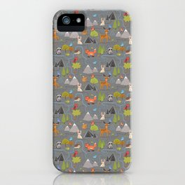 Forest Cute Animals and Birds Pattern iPhone Case