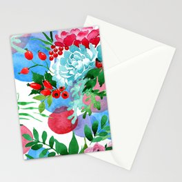 Watercolor Luxurious Floral In Elegant Blues, Pinks, & Red Stationery Cards