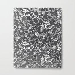 Pieces of China: Dragon Dance (White on dark gray / grey) Metal Print