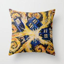 Exploding Tardis Throw Pillow