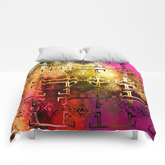 1001 Lights Pattern (gold-magenta-vermillion) Comforters