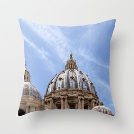 St Peter's basilica dome close-up view in Vatican - Rome, Italy Throw Pillow